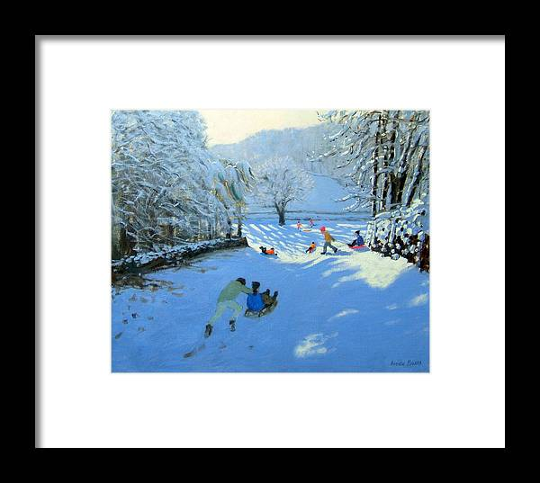 English Landscape Framed Print featuring the painting Pushing The Sledge by Andrew Macara