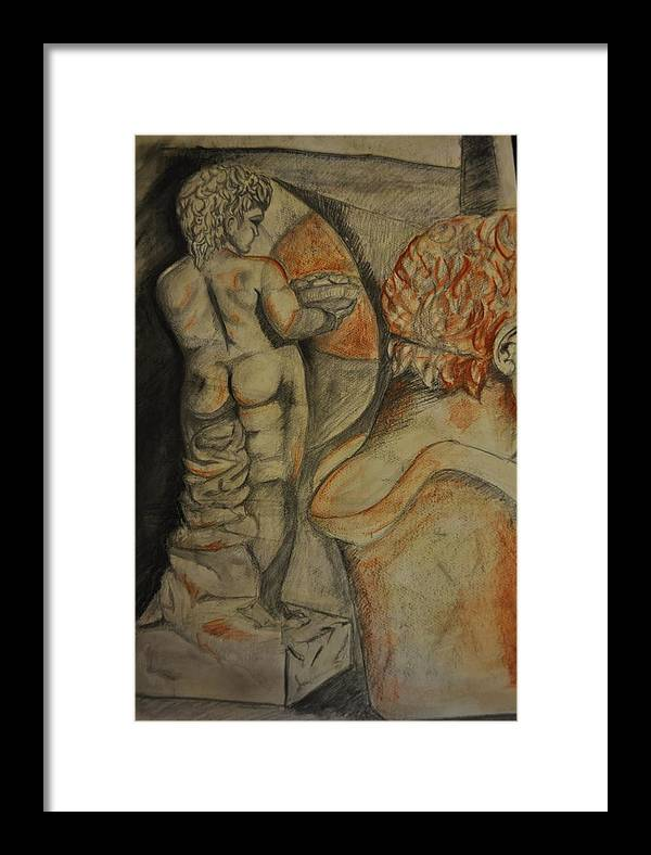 Drawing Framed Print featuring the drawing Puttino by Valeria Giunta