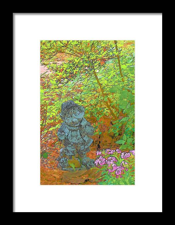 Pixies Gardens Flowers Greenery Nature Elves Gnomes Leprachauns Framed Print featuring the digital art Puzzled by Wide Awake Arts