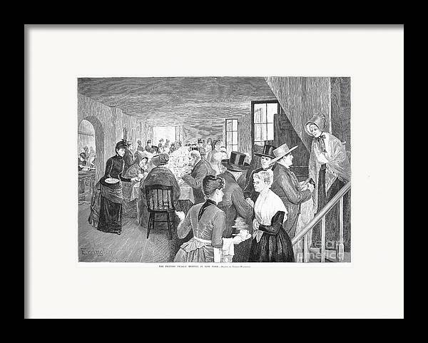 1888 Framed Print featuring the photograph Quaker Meeting, 1888 by Granger
