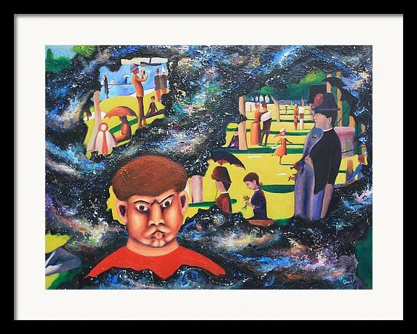 Quantum Framed Print featuring the painting Quantum Quasimodo by Art Enrico