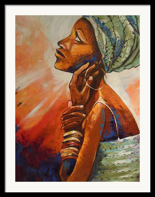 African Queen Framed Print featuring the painting Queen by Michael Echekoba