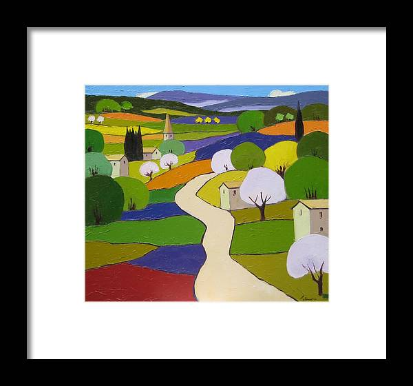 Landscape Framed Print featuring the painting Quilted Landscape II by Mehran Rashidfarokhy