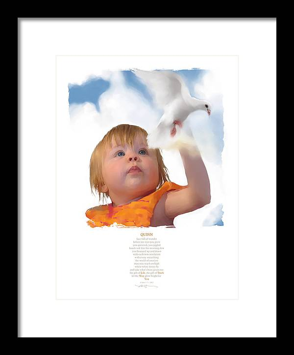 Child Framed Print featuring the digital art Quinn by Bob Salo