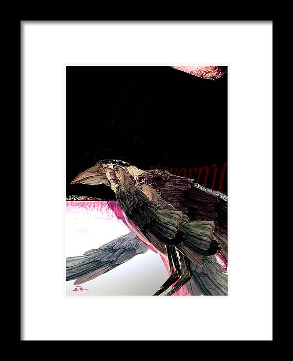 Bird Framed Print featuring the digital art Quote The Raven by James VerDoorn
