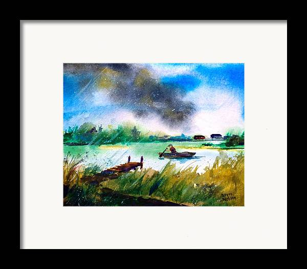 Paddle Framed Print featuring the painting Racing Back by Scott Nelson