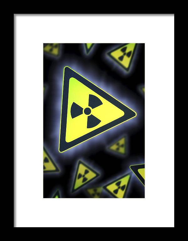 Symbol Framed Print featuring the photograph Radiation Warning Signs, Artwork by Doncaster And Bassetlaw Hospitals