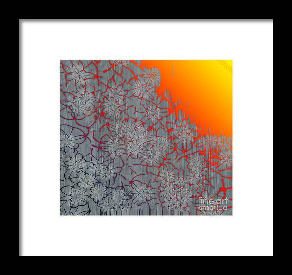 Orange Framed Print featuring the digital art Radient Etched Flowers by Michelle Bergersen