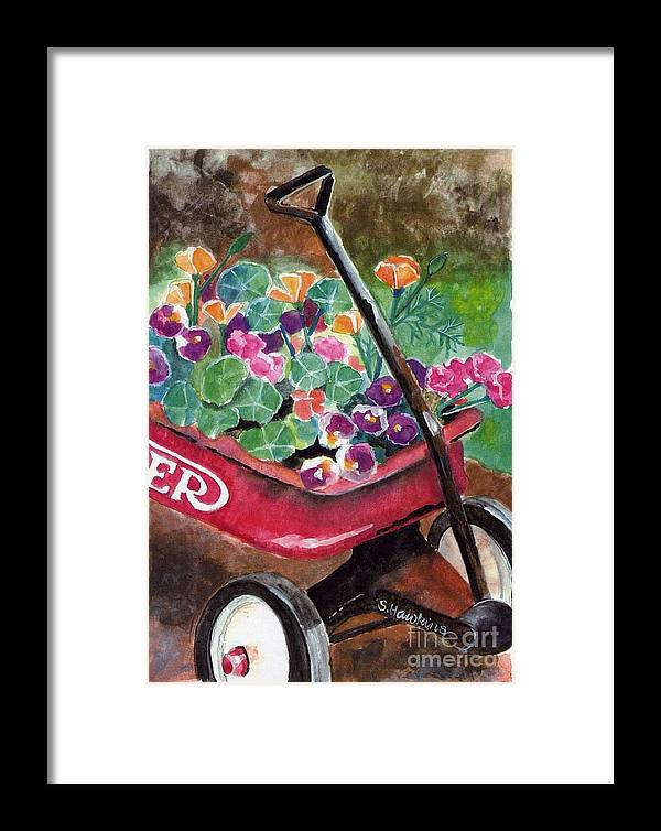 Red Wagon Framed Print featuring the painting Radio Flyer Garden by Sheryl Heatherly Hawkins