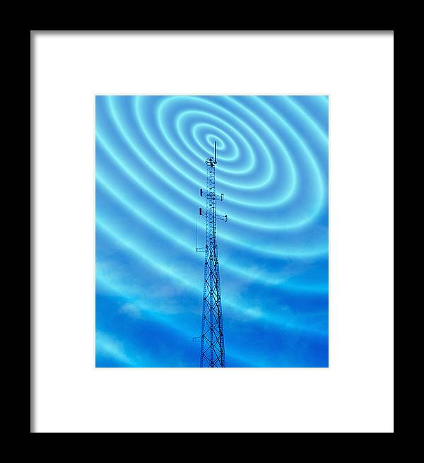Transmitter Framed Print featuring the photograph Radio Mast With Radio Waves by Mehau Kulyk