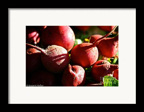 Food Framed Print featuring the photograph Radishes At Sunrise by Susan Herber