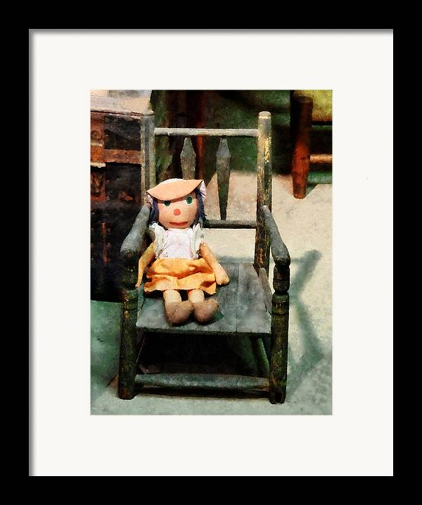 Doll Framed Print featuring the photograph Rag Doll In Chair by Susan Savad