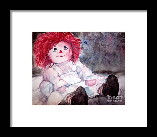 Raggedy Ann Framed Print featuring the painting Raggedy Ann by Andreia Medlin