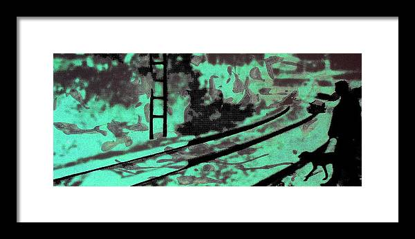 Silhouette Framed Print featuring the photograph Railway - Schattenbild Siebdrucktechnik by Arte Venezia