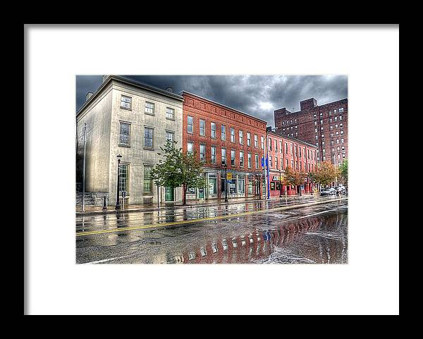 Hdr Framed Print featuring the photograph Rain Reflection by Brian Fisher