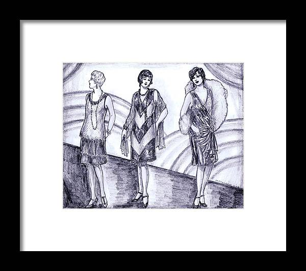 Nostalgia Framed Print featuring the drawing Rainbow 1920s Fashions by Mel Thompson
