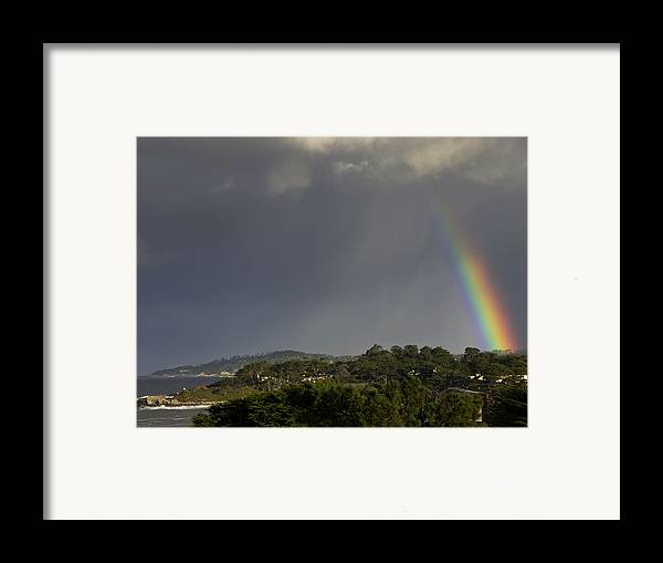 Rainbow Framed Print featuring the photograph Rainbow Over Carmel by Mike Herdering