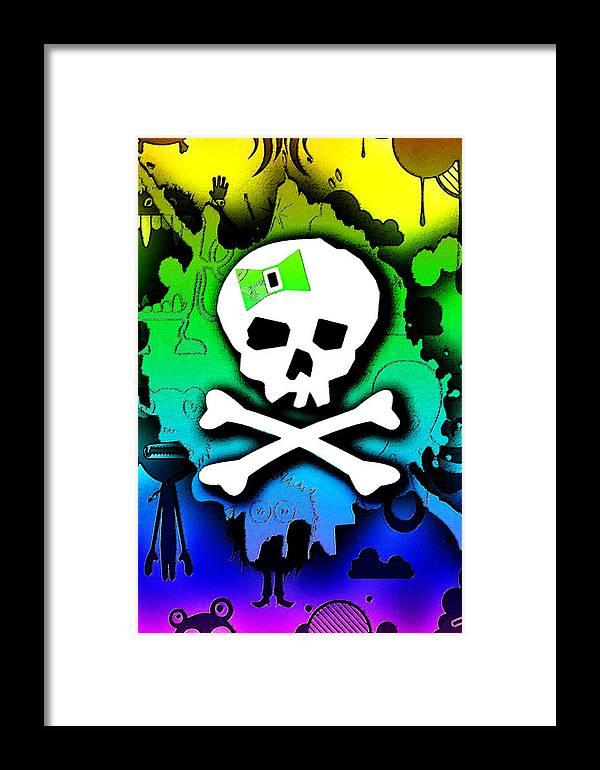 Rainbow Framed Print featuring the digital art Rainbow Skull 2 Of 6 by Roseanne Jones