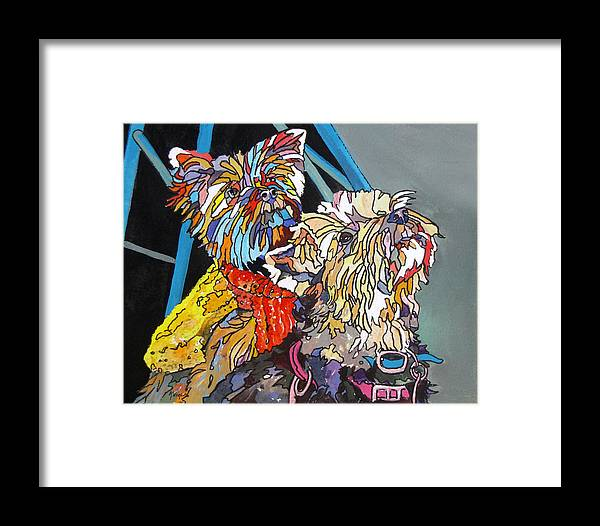 Yorkies Framed Print featuring the painting Rainbow Yorkies by Rae Andrews