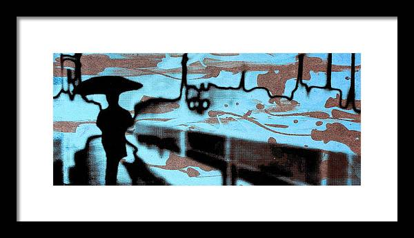 Silhouette Framed Print featuring the digital art Rainy day - Serigraphic art silhouette by Arte Venezia