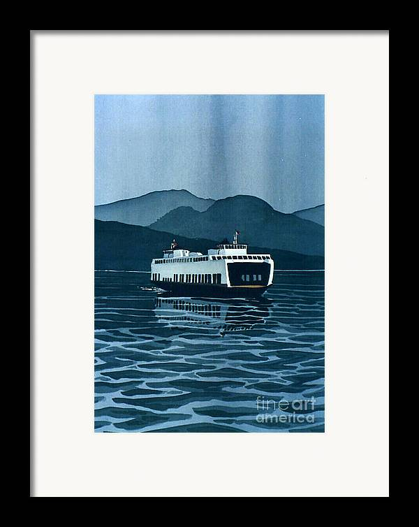 Washington Framed Print featuring the painting Rainy Ferry by Scott Nelson