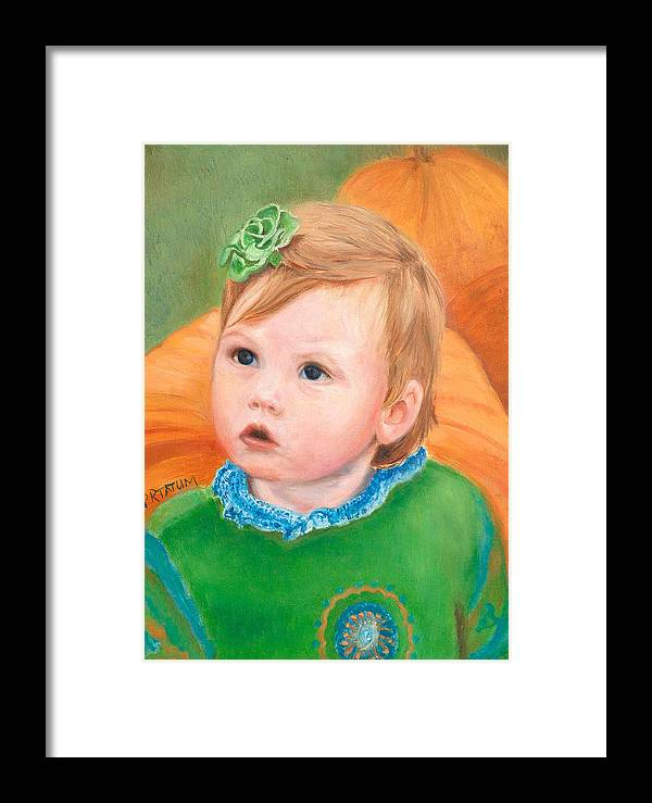 Portrait Framed Print featuring the painting Ramey Kate In The Pumpkin Patch by Pamela Ramey Tatum