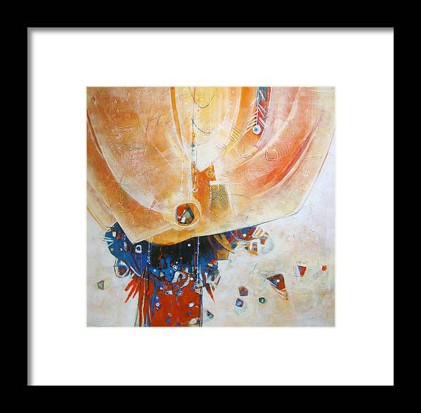 Abstract Framed Print featuring the painting Random Thoughts Pinata by Dale Witherow