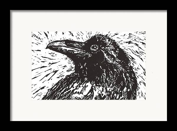 Linocut Framed Print featuring the mixed media Raven by Julia Forsyth