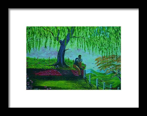 Nature Framed Print featuring the painting reading Watchtower 2 by Lorenzo Roberts