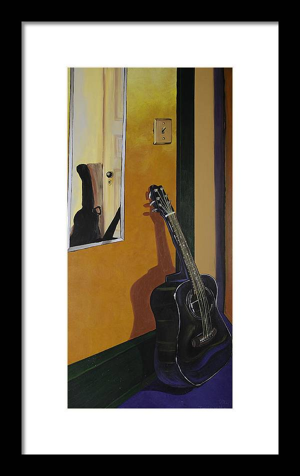 Guitar Framed Print featuring the painting Ready To Play Guitar by Jennifer Noren