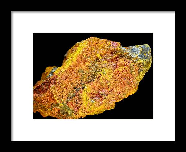 Arsenic Sulphide Framed Print featuring the photograph Realgar Mineral by Dirk Wiersma