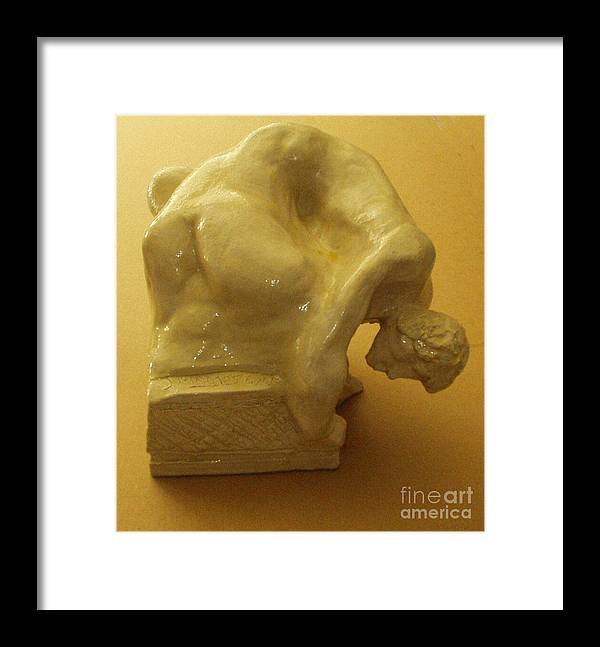 Man Framed Print featuring the sculpture Recline White Figure by Joseph Mamos