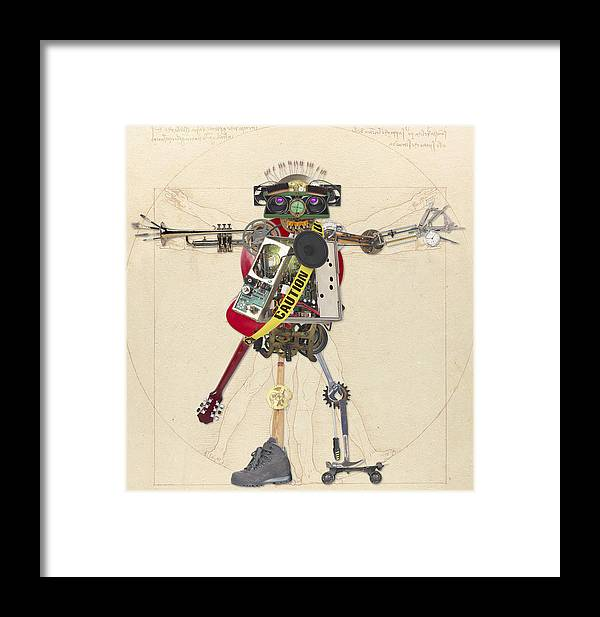 Assemblage Framed Print featuring the digital art Reconstructed Man by Merrill Miller