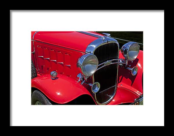 Red Framed Print featuring the photograph Red 1932 Oldsmobile by Garry Gay