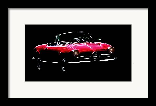 Alfa Romeo Spider Giulia 1600 Car Oldtimer Digital Painting Black White Expressionism Impressionism Motor Sport Sports Framed Print featuring the digital art Red Alfa Romeo 1600 Giulia Spider by Steve K