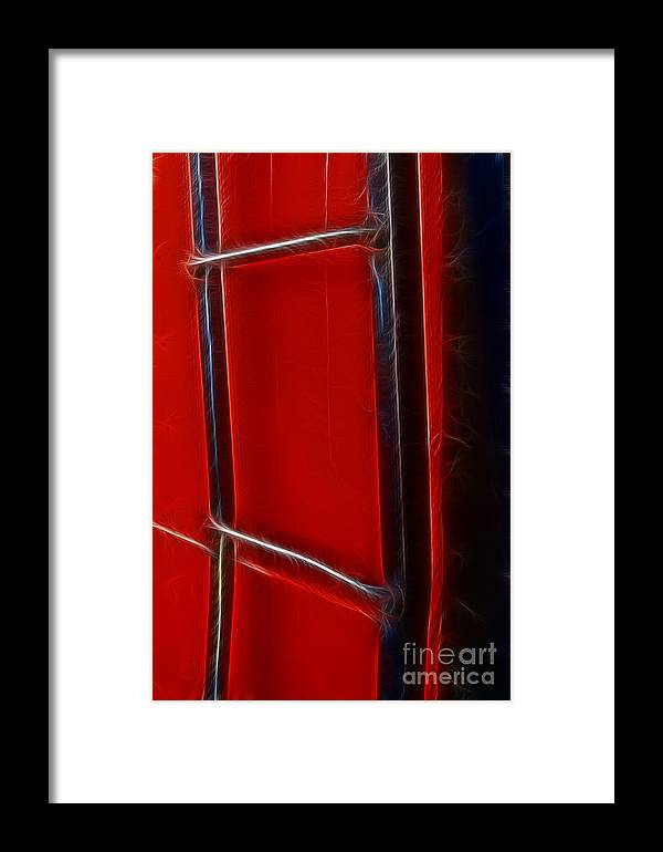 Ladder Framed Print featuring the photograph Red And Black Train Ladder by Darleen Stry