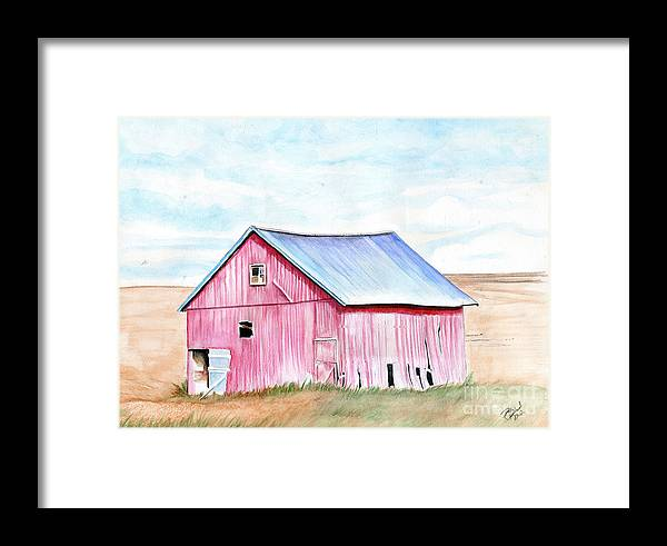 Watercolor Framed Print featuring the painting Red Barn by Bill Richards