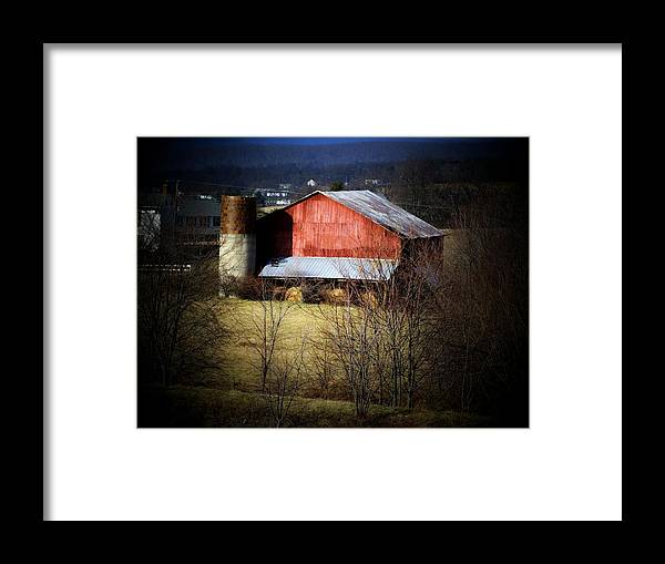 Barn Framed Print featuring the photograph Red Barn Hay Rolls by Michael L Kimble