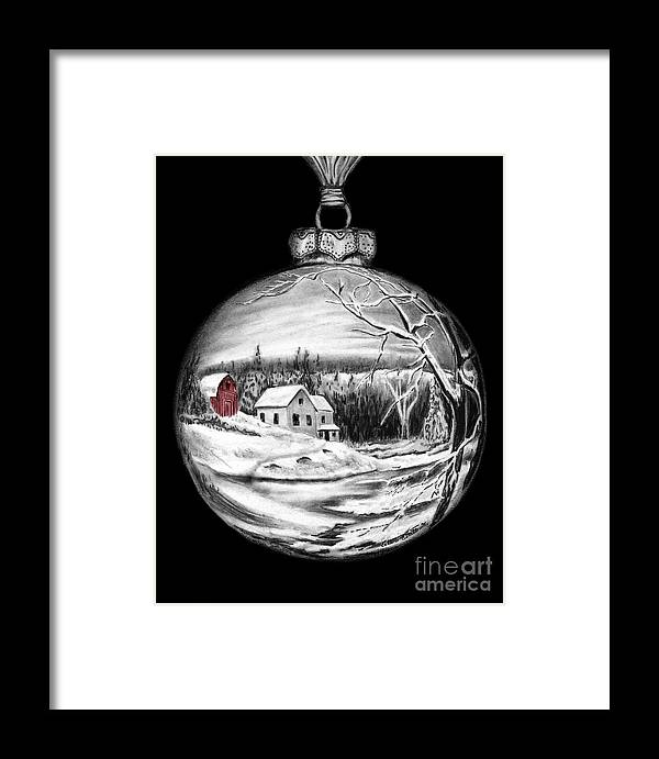 Red Barn Framed Print featuring the drawing Red Barn Winter Scene Ornament by Peter Piatt