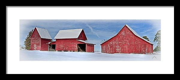 Smithfield Framed Print featuring the photograph Red Barns In The Snow by Williams-Cairns Photography LLC