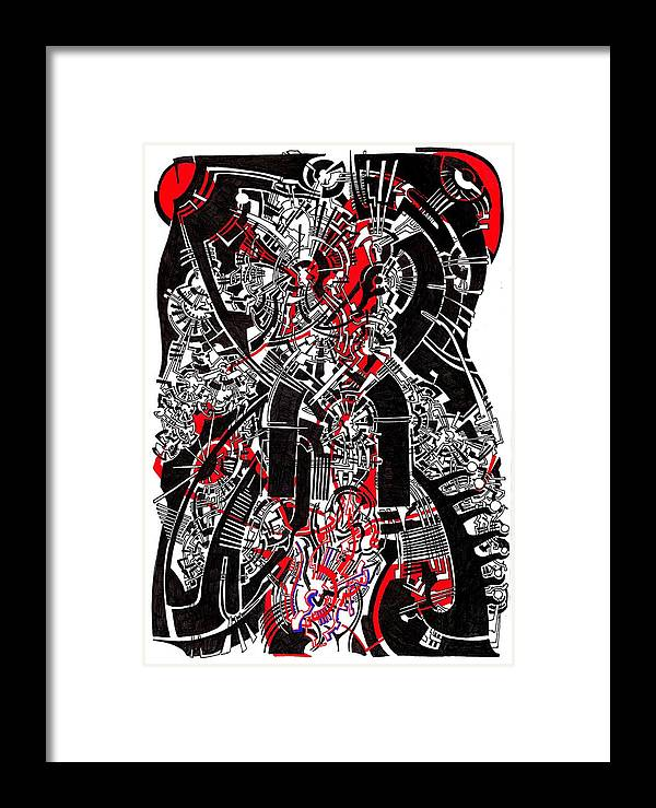 Biomechanical Black White Red Steampunk Drawings Canvas Prints Organic Art Deco Magic Eyes Fascination Drawings Native Framed Print featuring the drawing Red Black 2 by Power City Images