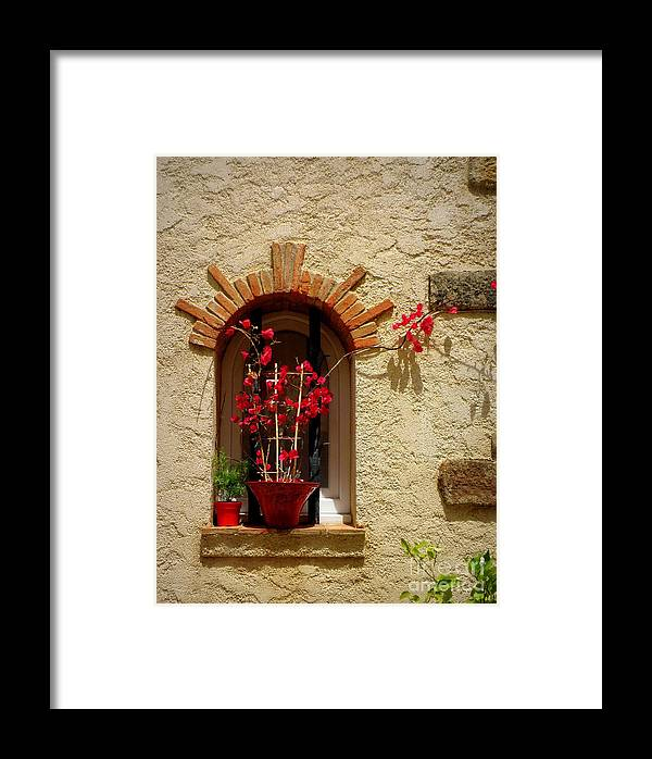 Window Framed Print featuring the photograph Red Bougainvillea In Window by Lainie Wrightson