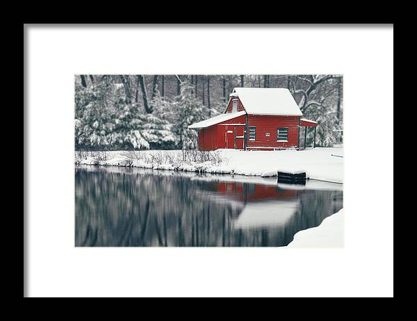Red Framed Print featuring the photograph Red Cabin by Brian Fisher