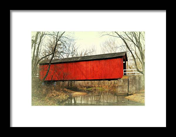 Bridge Framed Print featuring the photograph Red Covered Bridge by Marty Koch
