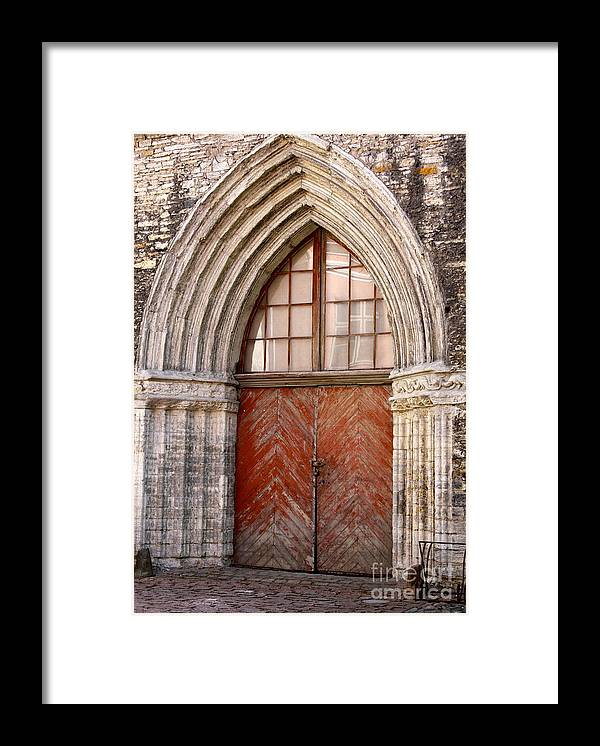 Arch Framed Print featuring the photograph Red Doors by Jacqueline Muller