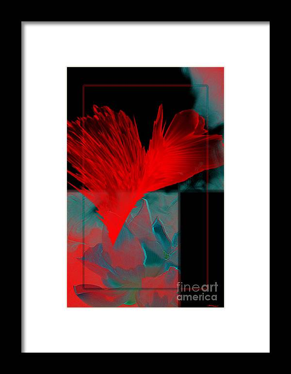 Comtempory Framed Print featuring the mixed media Red Heart Flower by Christine Mayfield