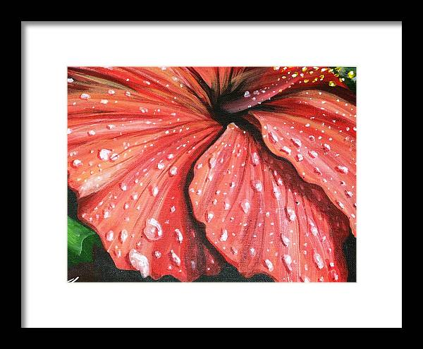 Florals Tropical Flowers Framed Print featuring the painting Red Hibiscus by John Westerhold