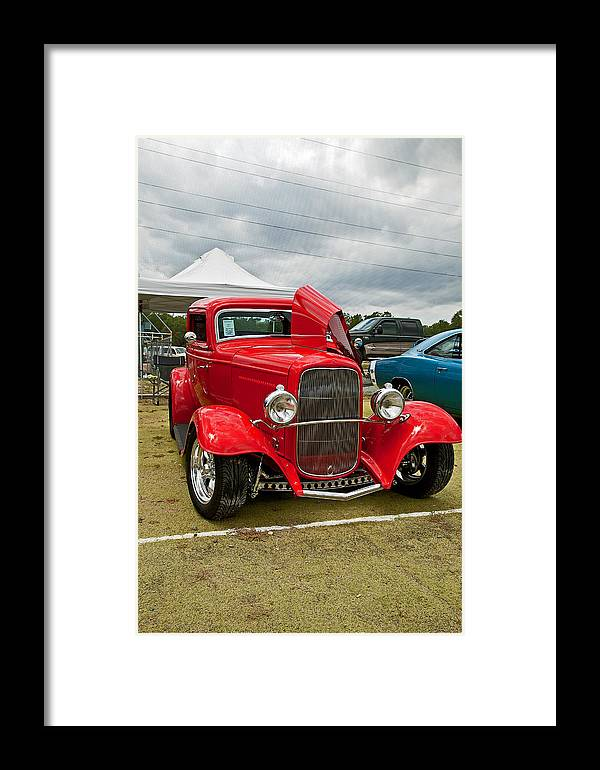 Red Framed Print featuring the photograph Red Hot Rod by Joe Fernandez