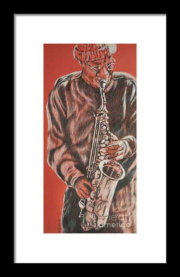 Music Framed Print featuring the painting Red Hot Sax by Norma Gafford