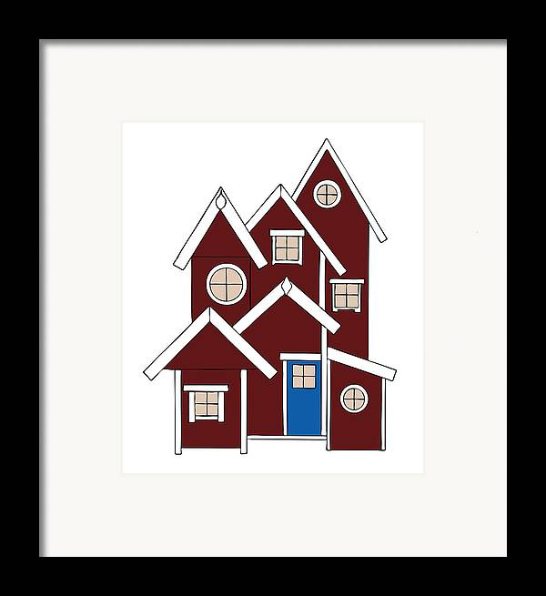 Christmas Framed Print featuring the painting Red Houses by Frank Tschakert